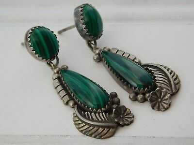 Vtg Old PAWN SANTO DOMINGO PUEBLO Sterling SILVER MALACHITE Post Charm EARRINGS