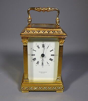 Fine Taylor And Bligh Ornate Lacquered Brass Carriage Clock Made In England