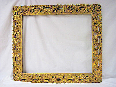 "Antique Ornate Carved Wood & Gesso Gold Gilded Large Picture Frame 32"" x 28"""