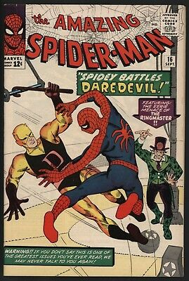 Amazing Spider-Man #16 Vs Daredevil What A Beauty! Vf+ 8.5 White Pages Ditko Art