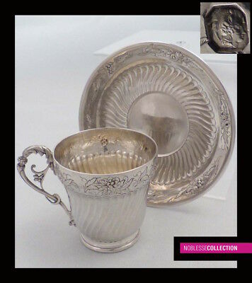 FINE ANTIQUE 1870s FRENCH STERLING SILVER EMBOSSED COFFEE CUP & SAUCER Rococo st