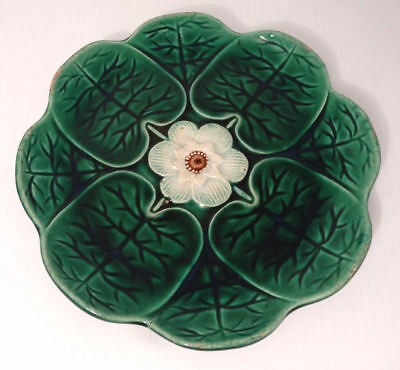 Antique 1800's Majolica Leaf and Flower Plate
