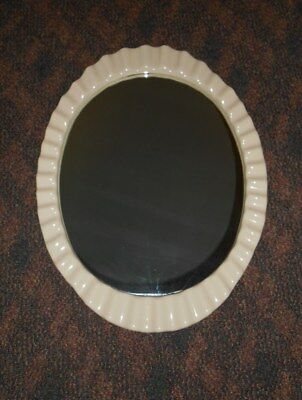 28 x 21 ST THOMAS CREATIONS SCALLOPED EDGE OVAL MIRROR Bone Porcelain Bathroom