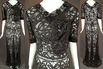 Edwardian Antique Black Battenburg Tape Lace Amber Beaded Ball Gown Dress Vtg