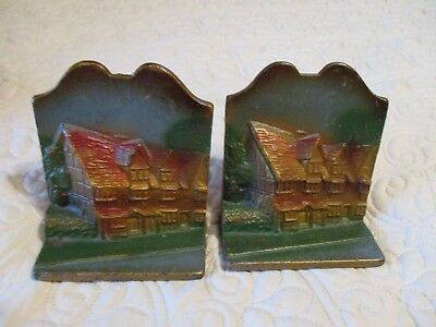 Vintage Cast Iron Shakespeare's House Pair of Bookends Colorful