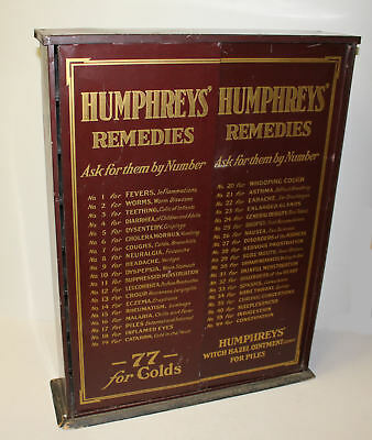 Humphreys Remedies Advertising Country Store Apothecary Medicine Metal Cabinet