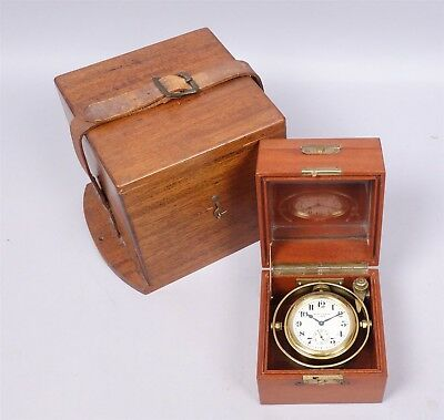 Superb & Uncommon Vintage Waltham 8 Day 15J Gimbaled Ships Clock w Double Case