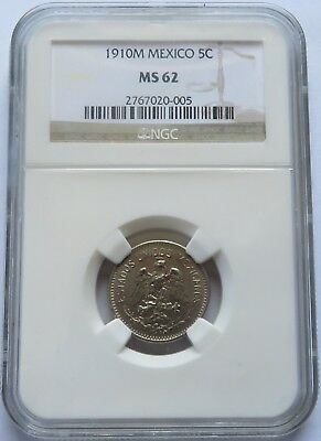 1910-M Mexico 5 Cents - NGC MS 62, Vintage Better Grade Mexican 5C Coin (141622X