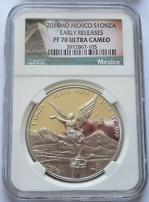 2014-MO Mexico S1ONZA - NGC PF 70 UCAM Early Releases Silver Libertad  (141640X)