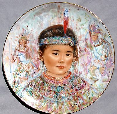 EDNA HIBEL Plate by Rosenthal:  NOBILITY of CHILDREN-CHIEF RED FEATHER - MINT!