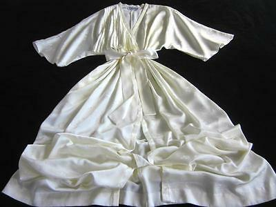 Vintage Christian Dior Long Ivory Slinky Satin Dressing Gown Robe Logo Fabric L