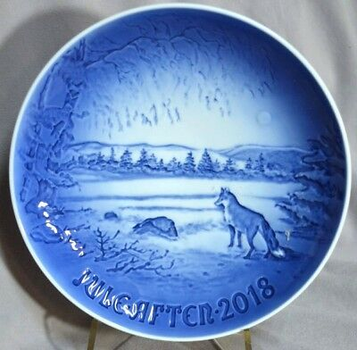 BING & GRONDAHL 2018 Christmas Plate B&G – Just Released! Winter Scene with Fox
