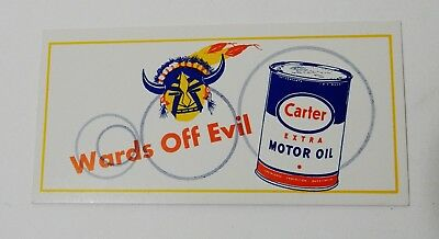 VINTAGE WARDS OFF EVIL CARTER EXTRA MOTOR OIL CAN INK BLOTTER unused