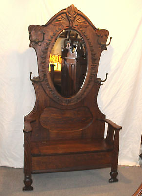Antique Oak Hall Seat – Oval Beveled shape Mirror - Lift Seat