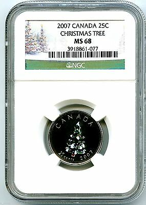 2007 Canada 25 Cent Ngc Ms68 Christmas Tree Quarter Extremely Rare !!