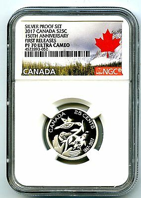 2017 Canada 150Th Anniv 25 Cent Ngc Pf70 First Releases Silver Proof Quarter