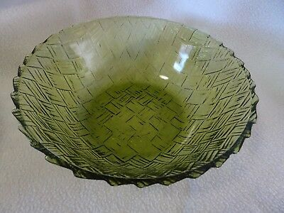 """Vintage Indiana Glass Co. Green Basketweave Bowl-8 75"""" X 3""""-Never Used Condition"""