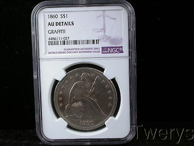 1860 Liberty Seated Silver Dollar Ngc Au Details