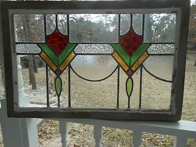 V-334B Lovely & Large Older Leaded Stained Glass Window From England