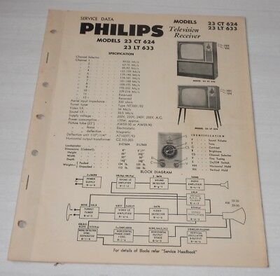 Philips Service Notes TV Televisions 1960 models 23 CT 614 and 23 LT 633