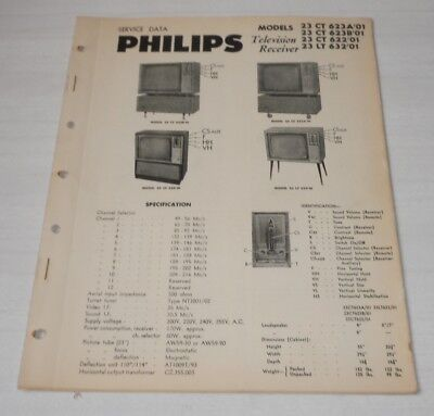 Philips Service Notes TV Televisions 1960 models 23 CT 623A'01 B'01 622'01 23 LT