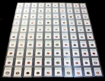 Dealer Overstock of 100 Slabbed BU, Proof & Circulated Coins  Nice Collection z3