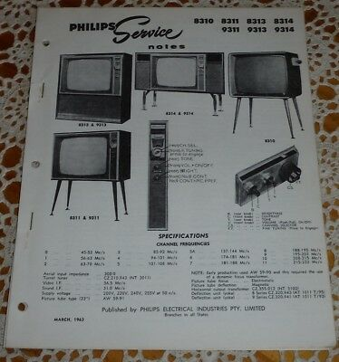 Philips Service Notes TV Televisions 1963 models 8310 8311 8313 8314 9311 9313 +
