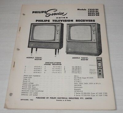 Philips Service Notes TV Televisions 1962 models 7222'01, 7223'01, 8222'00 8223'