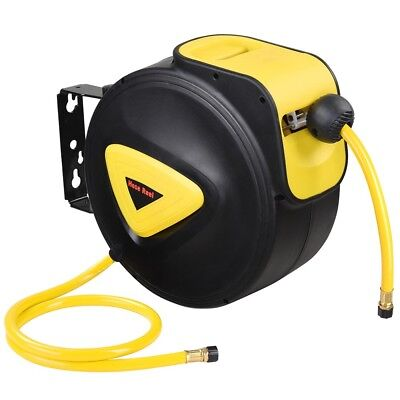 "33'x3/8"" I.D. Retractable Auto Rewind Air Hose Reel Wall Mount Tool Compressor"