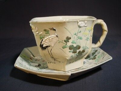 Antique Japanese Banko Pottery Cup & Saucer Incised Mark Cranes & Flowers