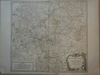 Isle de France Paris Frankreich - Kupferstich engraving Karte map Vaugondy 1770