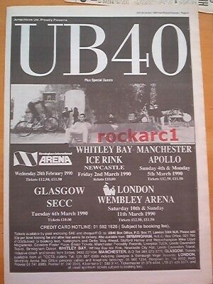 UB40 1989 UK Tour Poster size Press ADVERT 16x12 inches