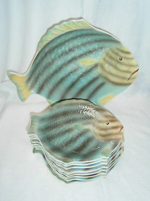 Antique Shorter & Son Stoke On Trent Seafood Serving Set - 1Large Plate 9 Small
