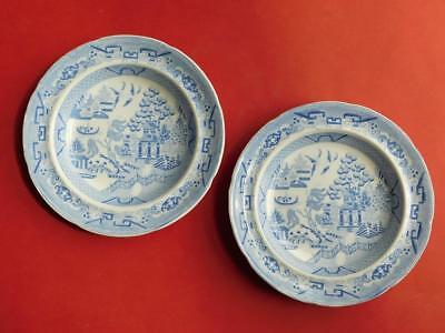 2x Early English Minton Willow Pattern Shallow Bowls c1800s Blue & White 1842