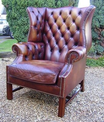 vintage georgian style brown leather chesterfield wingback armchair club chair