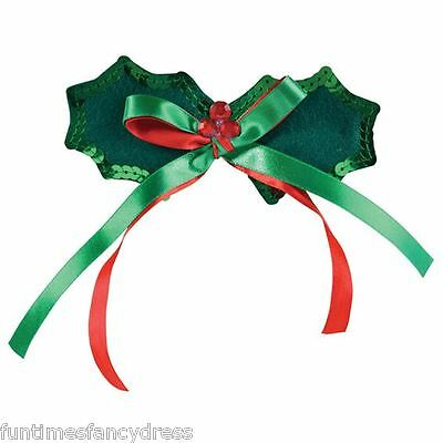 Christmas Red & Green Festive Holly Leaf & Berries Bow Tie Dicky Bow Fancy Dress