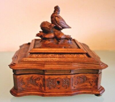 Vintage French Wooden Trinket Box from the Black Forest 8'' (21cm) Tall Appx