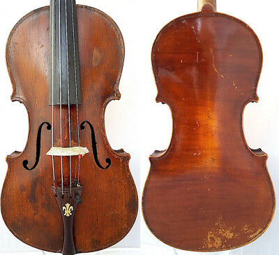 FINE 4/4 Very OLD GERMAN VIOLIN label B.SEELMAN w. Ebony Tulip fiddle 小提琴 ヴァイオリン