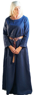 Viking-Saxon-LARP-SCA-Early Middle Ages-Dark Age BLUE LINEN KIRTLE -Ladies Sizes