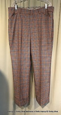 Funky Vintage 70's Menswear Inspired Brown Blue Plaid Poly Blend Pants 36 x 28