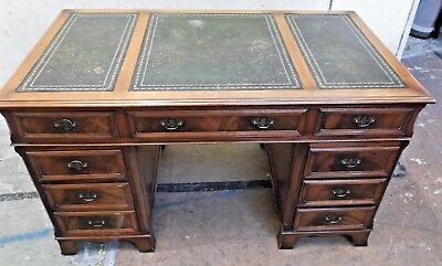 Edwardian Style CHARLES BARR Yew Effect Dark Wood Captains Desk  - M23