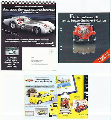 3 Modellauto-Prospekte Franklin Mint/Mercedes 1989 + Deutsche Post 1999