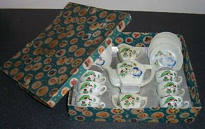 "Vintage ""Mary Mary Quite Contrary"" 15 piece CHILDREN'S TEA SET - Boxed c1940/50s"