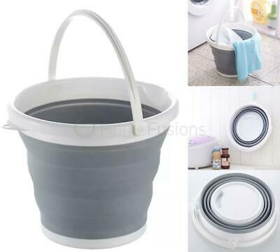 10L Collapsible Cleaning Bucket Foldable Silicone Folding Water Carrier Grey Whi