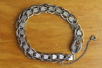 """VINTAGE Sterling Silver CHARM BRACELET HEART CAGED LINK 925 7.5"""" READY FOR CHARM"""
