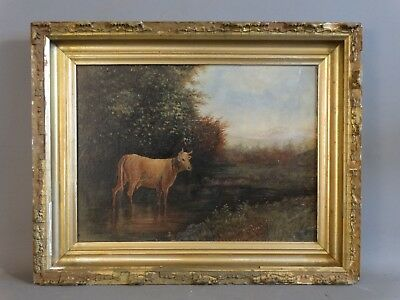 1903 Antique PRIMITIVE LANDSCAPE Old COW & STREAM Folk Art COUNTRY Oil PAINTING