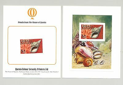 Grenada Grenadines #144 1976 Shells 1v imperf proof of s/s mounted on cards