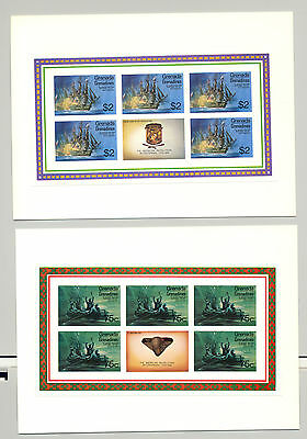 Grenada Grenadines #91-98 Bicentennial, 8v. m/s of 5 + labels imperf proofs
