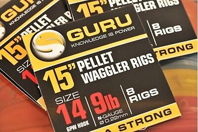 """Guru Ready Tied Pellet Waggler Rigs With Bait Bands 15"""""""