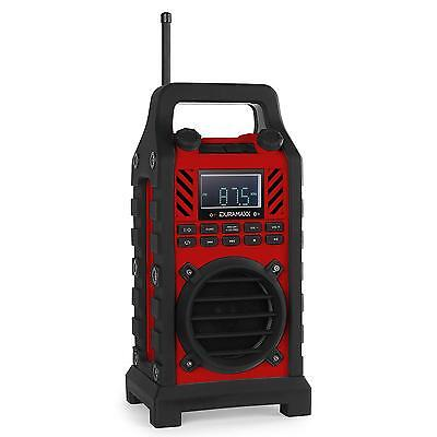 Enceinte Bluetooth  862-Bt Radio De Chantier Batterie Anti Choc Usb Sd Mp3 Rouge